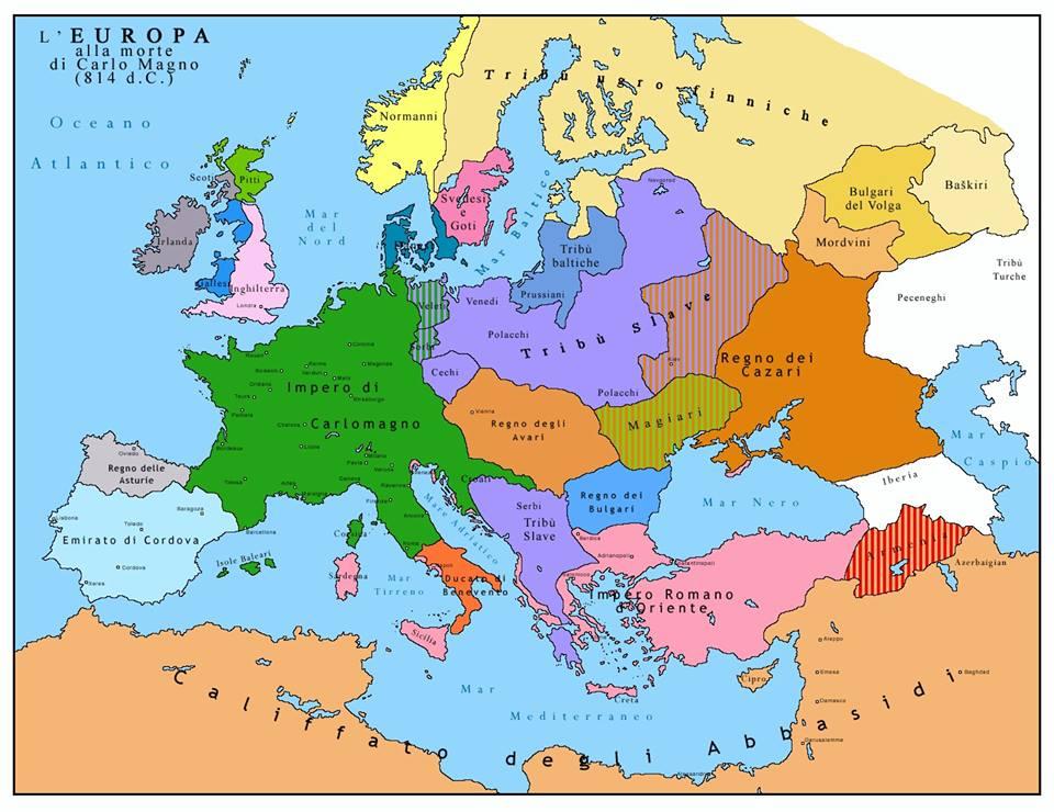 Mapa europy za czas w karola wielkiego slavia lechia - Mappa di ungheria ed europa ...